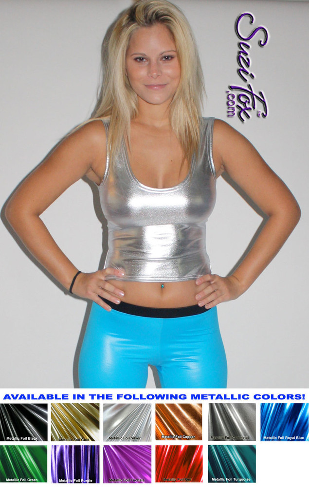 Tank Top shown in Silver Metallic Foil coated Spandex, custom made by Suzi Fox, as seen in the play RENT. Custom made to your measurements! Available in gold, silver, copper, gunmetal, turquoise, Royal blue, red, green, purple, fuchsia, black faux leather/rubber, and any other fabric on this site. Made in the U.S.A.