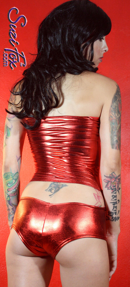 Tube Top shown in Red Metallic Foil coated Spandex, custom made by Suzi Fox. Custom made to your measurements! Available in gold, silver, copper, gunmetal, turquoise, Royal blue, red, green, purple, fuchsia, black faux leather/rubber, and any other fabric on this site. Made in the U.S.A.