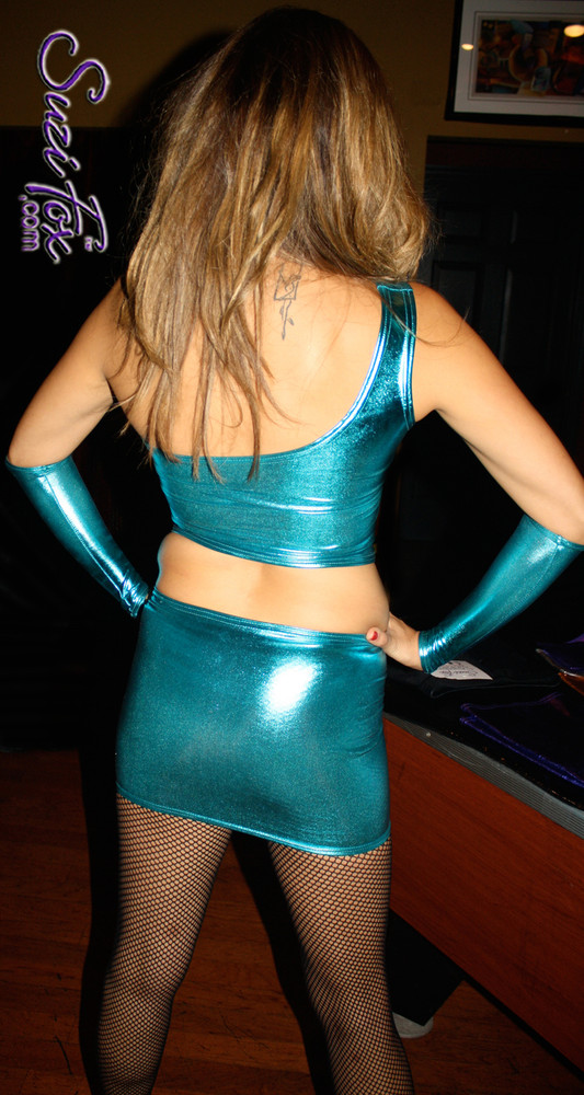 Hiphugger Micro Mini Skirt shown in Turquoise Metallic Foil coated Spandex, custom made by Suzi Fox. Custom made to your measurements! Available in gold, silver, copper, gunmetal, turquoise, Royal blue, red, green, purple, fuchsia, black faux leather/rubber, and any other fabric on this site. Made in the U.S.A.