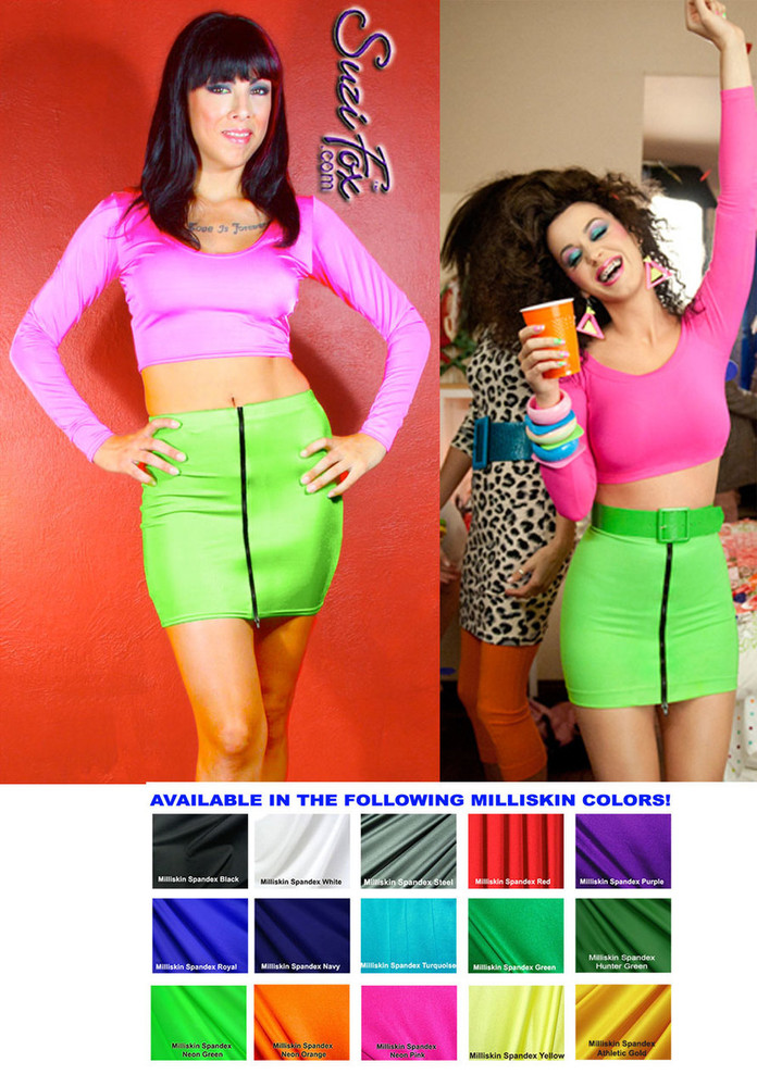 """Front Zipper Skirt shown in Neon Green Shiny Milliskin Tricot Spandex by Suzi Fox. Patterned after katy Perry's character, Kathy Beth Terry in """"Last Friday Night"""" (T.G.I.F.). Custom made to your measurements! Available in black, white, red, royal blue, sky blue, turquoise, purple, green, neon green, hunter green, neon pink, neon orange, athletic gold, lemon yellow, steel gray Miilliskin Tricot spandex, and any fabric on this site. Made in the U.S.A."""