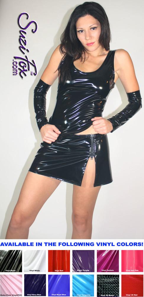 ba5cfaa3c79371 Hiphugger Micro Mini Skirt with zipper side slit shown in Gloss Black Vinyl/ PVC Spandex ...