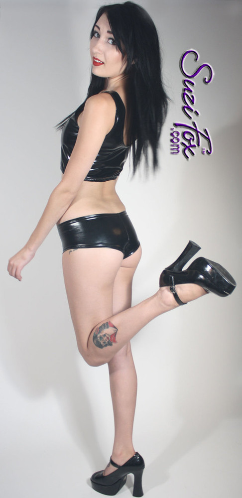Cheeky Peeker Booty Shorts shown in Black Vinyl/PVC Spandex, custom made by Suzi Fox. Custom made to your measurements! Available in black, white, red, navy blue, royal blue, turquoise, purple, Neon Pink, fuchsia, light pink, matte black (no shine), matte white (no shine), black 3D Prism, red 3D Prism, Turquoise 3D Prism, Baby Blue 3D Prism, Hot Pink 3D Prism, and any other fabric on this site. Made in the U.S.A.
