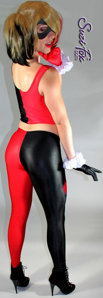 Harley Quinn Leggings shown in Black & Red Wet Look Lycra Spandex, custom made by Suzi Fox.  You can order this in almost any fabric on this site.  • Shown with optional tank top, and gloves. • Custom made to your measurements! • 4 diamonds on each leg • 1 inch elastic at the waist. • Optional 1 or 2-slider crotch zipper. • Optional ankle zippers • Optional rear patch pockets • Optional belt loops • Made in the U.S.A.