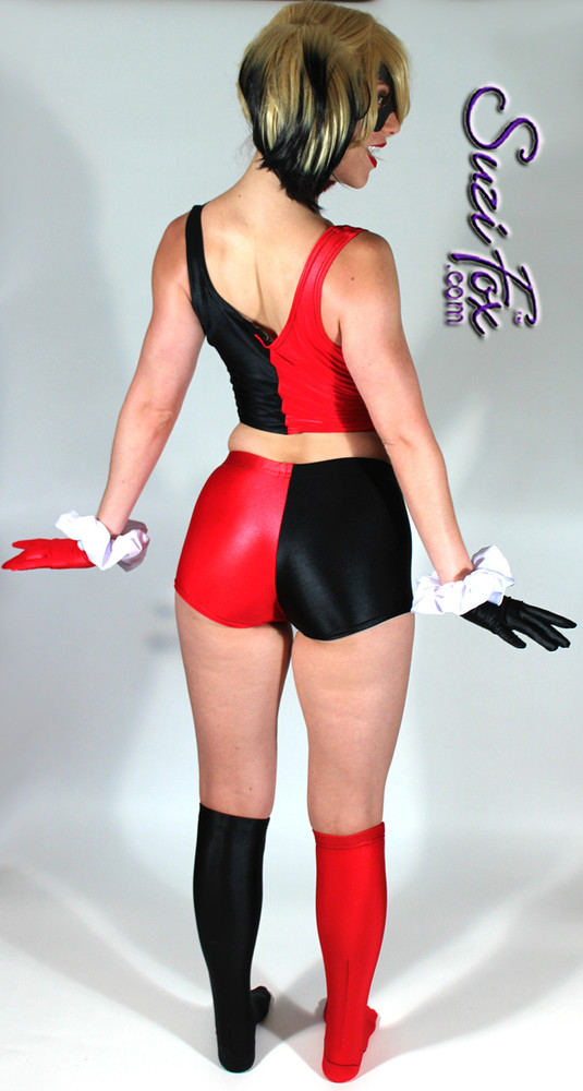Harley Quinn Shorts shown in Black & Red Wet Look Spandex Lycra, custom made by Suzi Fox.  You can order this in almost any fabric on this site.  • Shown with optional tank top, stockings, and gloves. • Custom made to your measurements! • Available in black, white, red, turquoise, navy blue, royal blue, hot pink, lime green, green, yellow, steel gray, neon orange Wet Look. • 4 diamonds on red leg. • 1 inch elastic at the waist. • Optional 1 or 2-slider crotch zipper. • Optional rear patch pockets • Optional belt loops • Made in the U.S.A.