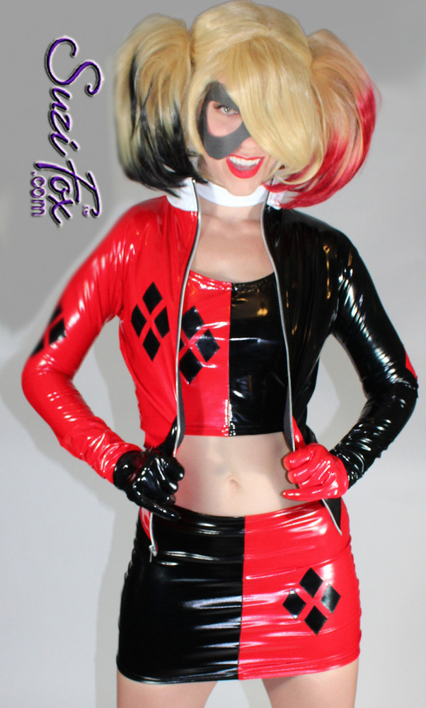 Harley Quinn Jacket in Black & Red Gloss Vinyl/PVC Spandex, custom made by Suzi Fox. Custom made to your measurements! • 4 Diamonds on the red side. • shown with optional tank top, skirt, & gloves. • Available in black, white, red, navy blue, royal blue, turquoise, purple, fuchsia, neon pink, light pink, matte black (no shine), matte white (no shine) stretch vinyl/PVC coated nylon spandex, or any fabric on this site. • Your choice of zippers. • Optional wrist zippers. Made in the U.S.A.