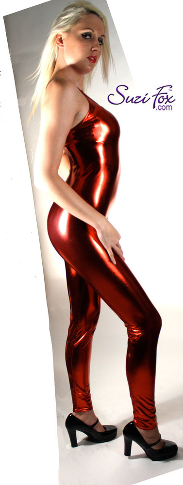 Womens Camisole Catsuit shown in Red Metallic Foil coated spandex, custom made by Suzi Fox. Custom made to your measurements! • Spaghetti straps. • Available in gold, silver, copper, gunmetal, turquoise, Royal blue, red, green, purple, fuchsia, black faux leather/rubber Metallic Foil, and any fabric on this site. • Optional ankle zippers. • Made in the U.S.A.