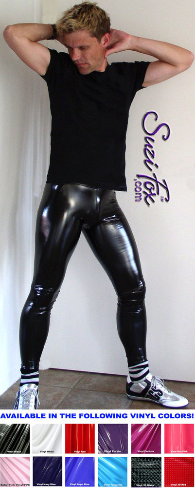 Mens Hiphugger Leggings shown in Gloss Black Vinyl/PVC Spandex, custom made by Suzi Fox. Custom made to your measurements! • Available in black, white, red, navy blue, royal blue, turquoise, purple, Neon Pink, fuchsia, light pink, matte black (no shine), matte white (no shine), black 3D Prism, red 3D Prism, Turquoise 3D Prism, Baby Blue 3D Prism, Hot Pink 3D Prism Vinyl and any fabric on this site. • 1 inch no-roll elastic at the waist. • Optional 1 or 2-slider crotch zipper. • Choose your ankle size - tight ankles, jean cut, boot cut, or bellbottom. • Optional ankle zippers. • Optional belt loops. • Optional rear patch pockets. Made in the U.S.A.