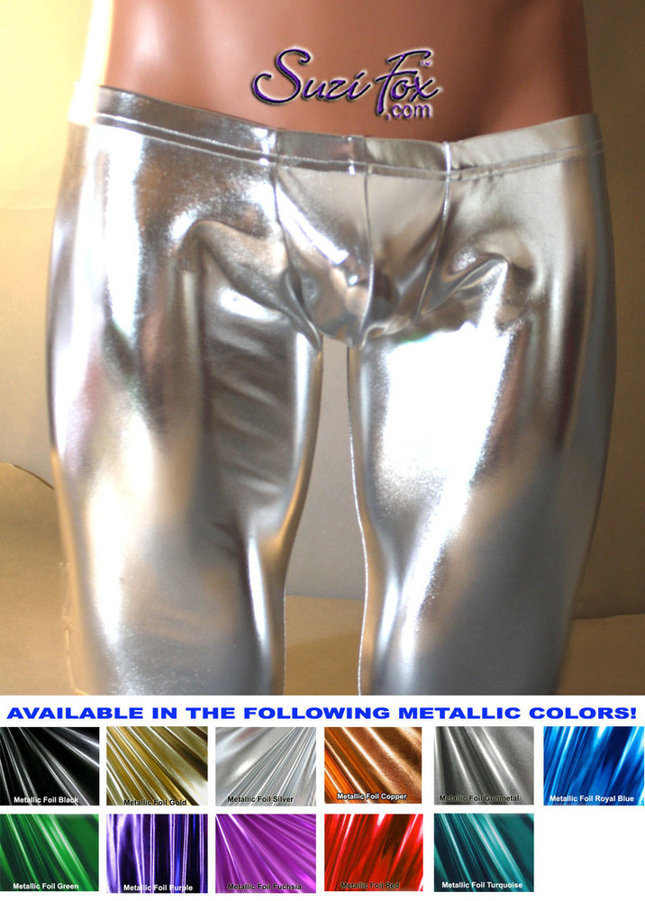 Pouch Front pants shown in Silver Metallic Foil Spandex, custom made by Suzi Fox. Custom made to your measurements! Choose your pouch size. Super Low Rise shown. • Available in gold, silver, copper, gunmetal, turquoise, Royal blue, red, green, purple, fuchsia, black faux leather/rubber Metallic Foil and any fabric on this site. • 1 inch no-roll elastic at the waist. • Optional belt loops. • Optional rear patch pockets. • Your choice of ankle style - tight ankles, jean cut, boot cut, or bellbottom. Made in the U.S.A.