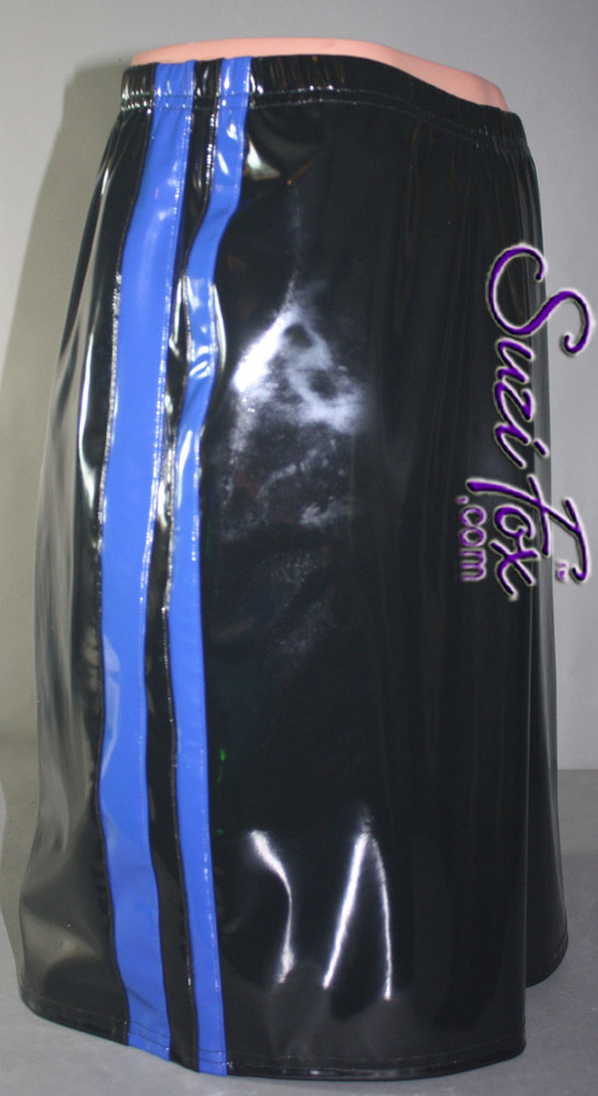 Mens Basketball or Board shorts shown in Black with Blue Stripes Vinyl/PVC Spandex, custom made by Suzi Fox. • Available in black, white, red, navy blue, royal blue, turquoise, purple, Neon Pink, fuchsia, light pink, matte black (no shine), matte white (no shine), black 3D Prism, red 3D Prism, Turquoise 3D Prism, Baby Blue 3D Prism, Hot Pink 3D Prism, and any fabric on this site. • 1 inch no-roll elastic at the waist. • Optional belt loops. • Optional rear patch pockets. • Optional drawstring. • Made in the U.S.A.