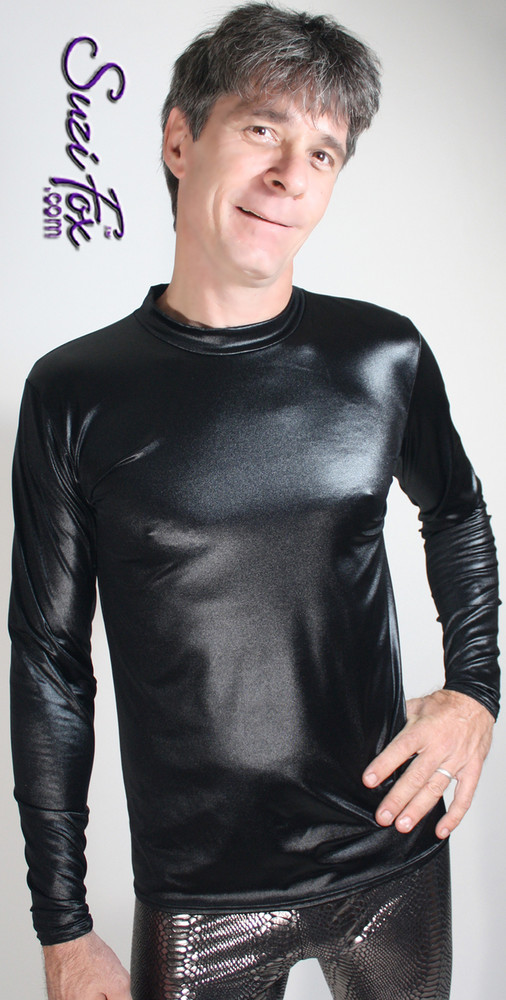 Men's Tee Shirt shown in Black Wetlook Lycra Spandex, custom made by Suzi Fox. • Available in black, white, red, turquoise, navy blue, royal blue, hot pink, lime green, green, yellow, steel gray, neon orange Wet Look, and any fabric on this site. • Choose your sleeve length. Long sleeve shown. • Give us your measurements for a custom fit! • Standard length is 24 inches (61 cm) for sizes XXXS-Medium; 27 inches (68.6 cm) for sizes Large and up. • Optional add extra length to the shirt. • Made in the U.S.A.