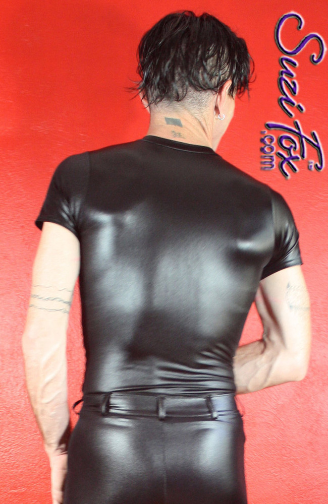 Men's Tee Shirt shown in Black Wetlook Lycra Spandex, custom made by Suzi Fox. • Choose your sleeve length. • Give us your measurements for a custom fit! • Standard length is 24 inches (61 cm) for sizes XXXS-Medium; 27 inches (68.6 cm) for sizes Large and up. • Optional add extra length to the shirt. • Made in the U.S.A.