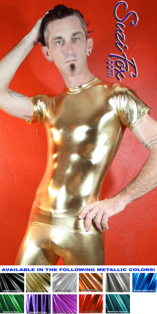 Mens Tee Shirt shown in Gold Metallic Foil Spandex, custom made by Suzi Fox. • Available in gold, silver, copper, gunmetal, turquoise, Royal blue, red, green, purple, fuchsia, black faux leather/rubber Metallic Foil, and any fabric on this site. • Choose your sleeve length. • Give us your measurements for a custom fit! • Standard length is 24 inches (61 cm) for sizes XXXS-Medium; 27 inches (68.6 cm) for sizes Large and up. • Optional add extra length to the shirt. • Made in the U.S.A.