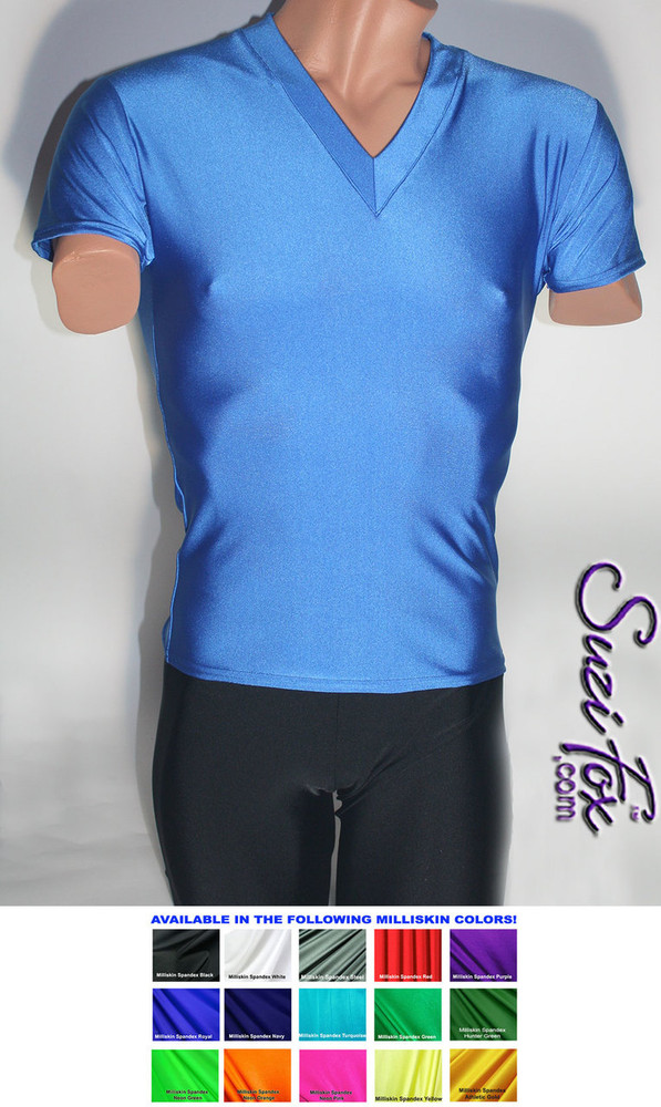Mens V Neck Tee Shirt shown in Royal Blue Milliskin Tricot Spandex, custom made by Suzi Fox. • Available in black, white, red, royal blue, sky blue, turquoise, purple, green, neon green, hunter green, neon pink, neon orange, athletic gold, lemon yellow, steel gray Miilliskin Tricot spandex, and any fabric on this site. • Choose your sleeve length. • Give us your measurements for a custom fit! • Standard length is 24 inches (61 cm) for sizes XXXS-Medium; 27 inches (68.6 cm) for sizes Large and up. • Optional add extra length to the shirt. • Made in the U.S.A.