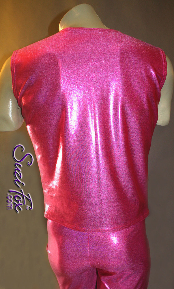 Mens V Front Vest in glittering Hot Pink Metallic Mystique Spandex, custom made by Suzi Fox. Custom made to your measurements! • Available in black, red, turquoise, green, purple, royal blue, hot pink/fuchsia, baby pink, baby blue, silver, copper, gold Metallic Mystique spandex, and any other fabric on this site. Button front. Made in the U.S.A.