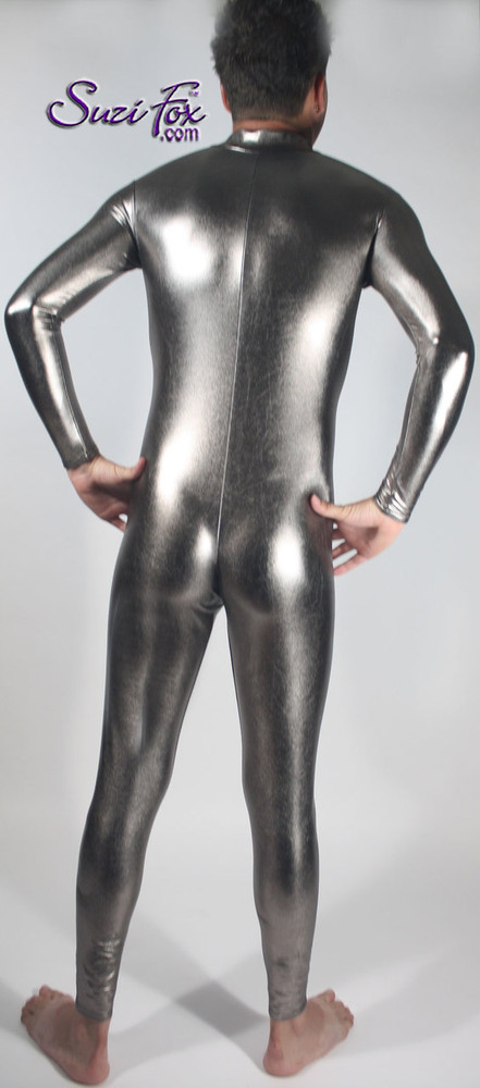 Mens Custom Catsuit shown in Gunmetal Metallic Foil Spandex, custom made by Suzi Fox. • Available in gold, silver, copper, gunmetal, turquoise, Royal blue, red, green, purple, fuchsia, black faux leather/rubber Metallic Foil, and any fabric on this site. • Your choice of front or back zipper (front zipper shown). • Optional 1 or 2-slider crotch zipper. • Optional wrist zippers • Optional ankle zippers • Optional finger loops • Made in the U.S.A.