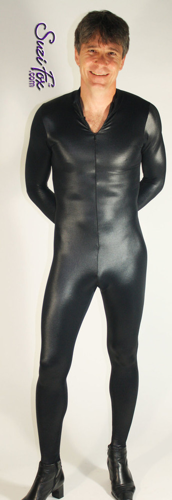 Mens Custom Catsuit shown in Black Wetlook Lycra Spandex, custom made by Suzi Fox. • Your choice of front or back zipper (front zipper shown). • Optional 1 or 2-slider crotch zipper. • Optional wrist zippers • Optional ankle zippers • Optional finger loops • Made in the U.S.A.
