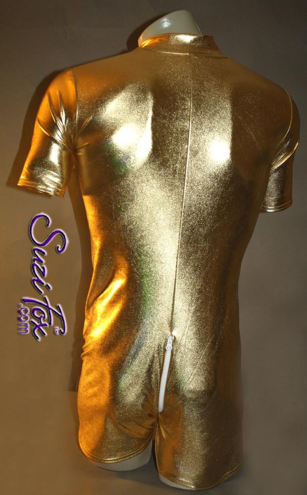 b4adc2d5a13 Mens Romper shown in Gold Metallic Foil Spandex