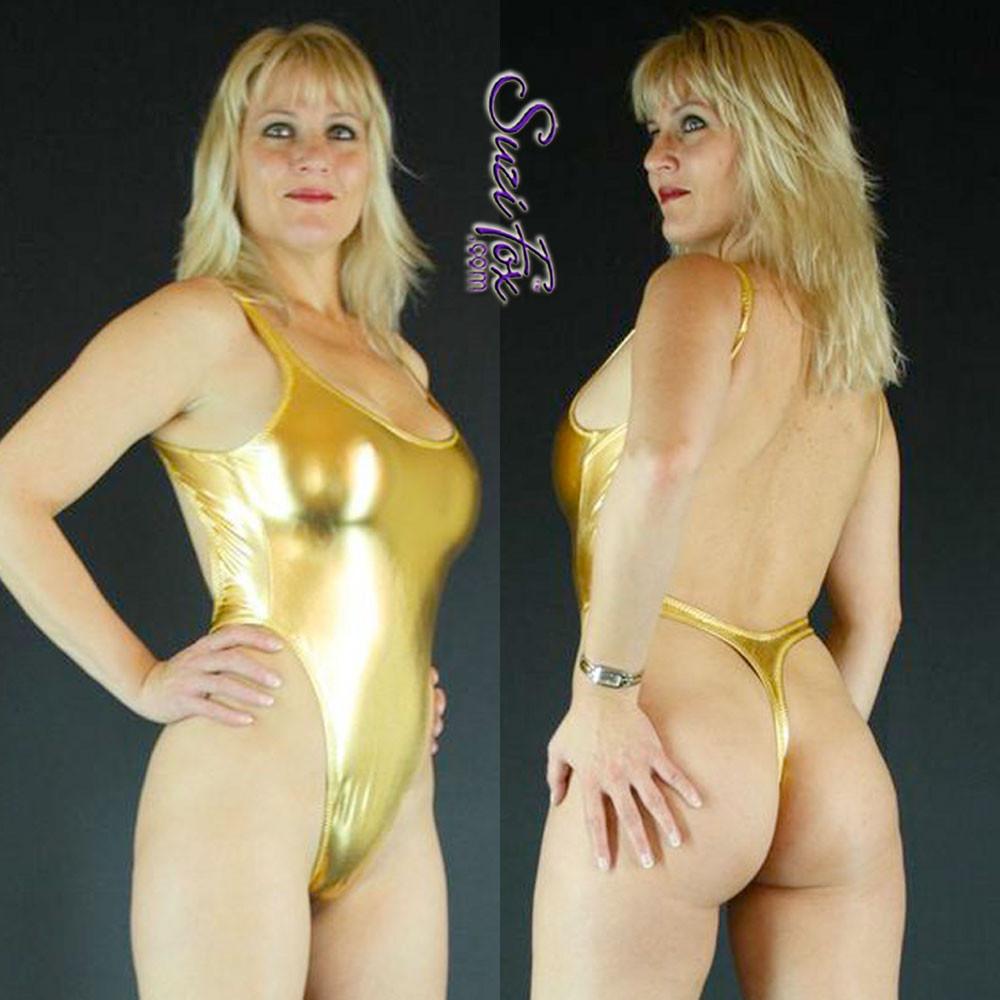e16d52b8f2d7a Womens One Piece T-back Thong Swim Suit shown in Gold Metallic foil  Spandex, ...