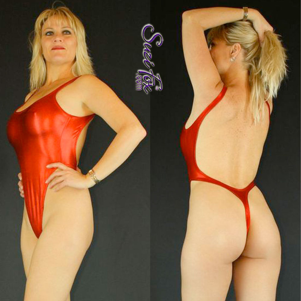 b96e53142511e Womens One Piece T-back Thong Swim Suit shown in Red Metallic foil Spandex,  ...