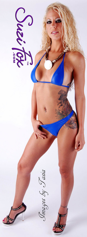 Teardrop String Bikini Top shown in Royal Blue Milliskin Tricot Spandex, custom made by Suzi Fox. • One Size. 3 inches (7.6 cm) wide at widest point, 7 inches (17.8 cm) tall. • Available in any fabric on this site. • Made in the U.S.A. • Photo by Images by Tasia