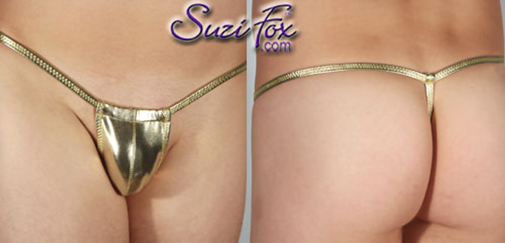 Men's Adjustable Pouch G-String thong - shown in Gold Metallic Foil Spandex, custom made by Suzi Fox. • Standard front height is 5 inches (12.7 cm) tall. • Available in 3, 4, 5, 6, 7, 8, 9, and 10 inch front heights. • Wear it as swimwear OR underwear! • You can choose any fabric on this site, including vinyl/PVC, Metallic Foil, Metallic Mystique, Wetlook Lycra Spandex, Milliskin Tricot Spandex. The vinyl/PVC is a latex alternative, great for people allergic to latex! • Worldwide shipping. • Made in the U.S.A. We custom make every garment when you order it (including standard sizes).