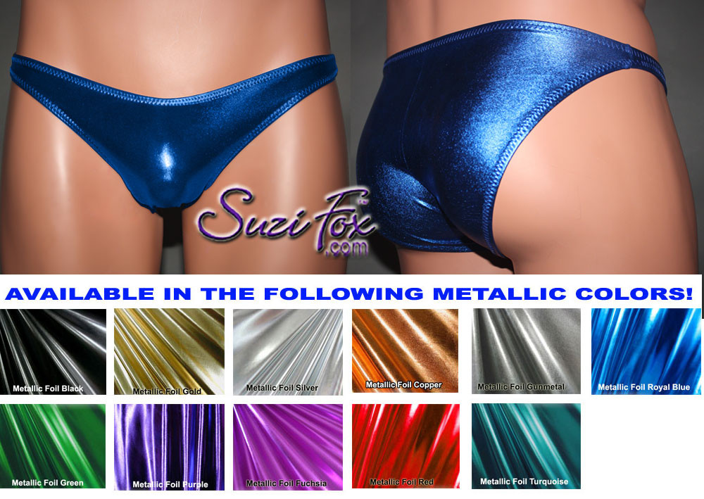 Mens Smooth Front, Wide Strap, Brazilian Bikini - shown in Royal Blue Metallic Foil Spandex, custom made by Suzi Fox. • Available in gold, silver, copper, gunmetal, turquoise, Royal blue, red, green, purple, fuchsia, black faux leather/rubber Metallic Foil or any fabric on this site. • Standard front height is 6 inches (15.24 cm) tall. • Available in 3, 4, 5, 6, 7, 8, 9, and 10 inch front heights. • Wear it as swimwear OR underwear! • Made in the U.S.A.
