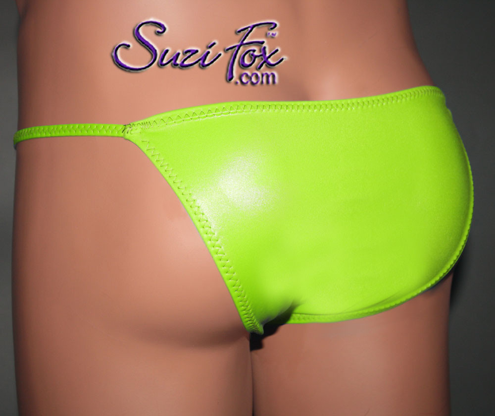 Mens Smooth Front, Skinny Strap, Brazilian Bikini - shown in Neon Green Milliskin Tricot Spandex, custom made by Suzi Fox. • Standard front height is 7 inches (17.8 cm). • Available in 4, 5, 6, 7, 8, 9, and 10 inch front heights. • Wear it as swimwear OR underwear! • Made in the U.S.A.