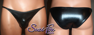 Mens Smooth Front, Skinny Strap, Rio Bikini - shown in Black Faux Leather Metallic Foil Spandex, custom made by Suzi Fox. • Available in gold, silver, copper, gunmetal, turquoise, Royal blue, red, green, purple, fuchsia, black faux leather/rubber Metallic Foil or any fabric on this site. • Standard front height is 5 inches (12.7 cm). • Available in 3, 4, 5, 6, 7, 8, 9, and 10 inch front heights. • Wear it as swimwear OR underwear! • Made in the U.S.A.