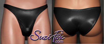 Mens Smooth Front, Wide Strap, Rio Bikini - shown in Black Wetlook Lycra Spandex, custom made by Suzi Fox. • Available in black, white, red, turquoise, navy blue, royal blue, hot pink, lime green, green, yellow, steel gray, neon orange Wet Look or any fabric on this site. • Standard front height is 9 inches (22.9 cm). • Available in 3, 4, 5, 6, 7, 8, 9, and 10 inch front heights. • Wear it as swimwear OR underwear! • Made in the U.S.A.