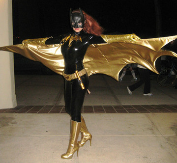 Customer photo! Batwoman made with Suzi Fox Black Gloss Vinyl/PVC catsuit.
