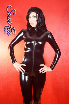 "Custom Catsuit by Suzi Fox shown in Black Gloss Black Vinyl/PVC coated Nylon Spandex.  You can order this Catsuit in almost any fabric on this site.  • Available in black, red, white, light pink, neon pink, fuchsia, purple, royal blue, navy blue, turquoise, black matte (no shine), white matte (no shine) stretch vinyl coated spandex. • Your choice of front or back zipper (front zipper shown). • Optional 1 or 2-slider crotch zipper, and ""Selene"" from Underworld TS Brass zipper, or aluminum circular slider zipper like Catwoman comic characters. • Optional wrist zippers • Optional ankle zippers • Optional finger loops • Made in the U.S.A."