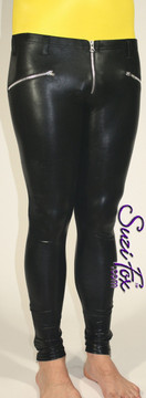 Mens 5 Zipper Leggings with crotch zipper, faux zippered pockets, and ankle zippers shown in Black Faux Leather Metallic, by Suzi Fox.  • 1 inch no-roll elastic at the waist. • Choice of zippers. • Choose your ankle size - tight ankles, jean cut, boot cut, or bellbottom. • Optional rear patch pockets. • Optional belt loops. • You can choose any fabric on this site, including vinyl/PVC, Metallic Foil, Metallic Mystique, Wetlook Lycra Spandex, Milliskin Tricot Spandex.