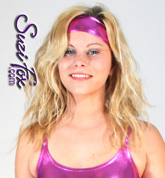 Headband • Choose any fabric on this site, including vinyl/PVC, metallic foil, metallic mystique, wetlook lycra Spandex, Milliskin Tricot Spandex. • Crafted in the U.S.A. by Suzi Fox • Worldwide shipping.