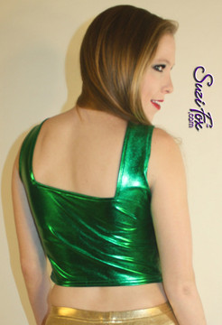 "Tank Top like Britney Spears square neck top in the ""You Drive Me Crazy"" video in metallic green Foil coated Spandex, custom made by Suzi Fox. Custom made to your measurements! Available in gold, silver, copper, gunmetal, turquoise, Royal blue, red, green, purple, fuchsia, black faux leather/rubber, and any other fabric on this site. • Plus size available. • Worldwide shipping. • Made in the U.S.A"