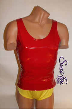 Mens Tank Top shown in Gloss Red Vinyl/PVC Spandex, custom made by Suzi Fox. • Choose any fabric on this site, including vinyl/PVC, metallic foil, metallic mystique, wetlook lycra Spandex, Milliskin Tricot Spandex. The vinyl/PVC is a latex alternative, great for people allergic to latex! • Optional custom sizing. • Plus size available. • Worldwide shipping. • Made in the U.S.A. We custom make every garment when you order it (including standard sizes).