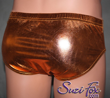 Men's Smooth Front, Brief Bikini, custom made by Suzi Fox shown in Copper metallic foil coated spandex Available in gold, silver, copper, royal blue, purple, turquoise, red, green, fuchsia, gunmetal, black rubber/leather look. 1 inch elastic at the waist. Optional belt loops and rear patch pockets available. Made in the U.S.A.