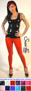 Womens Leggings shown in Red Gloss vinyl/PVC, custom made by Suzi Fox.  Hiphugger rise shown. You can order this in almost any fabric on this site.  • Custom made to your measurements! • Available in black, red, white, light pink, neon pink, fuchsia, purple, royal blue, navy blue, turquoise, black matte (no shine), white matte (no shine) stretch vinyl coated spandex. • 1 inch elastic at the waist. • Optional 1 or 2-slider crotch zipper. • Optional ankle zippers • Optional rear patch pockets • Optional belt loops • Made in the U.S.A.