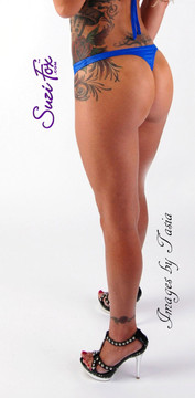 Womens T-back Thong panties shown in Royal Blue Milliskin Tricot Spandex, custom made by Suzi Fox. • Custom made to your measurements. • Choose your crotch size! • Made in the U.S.A.