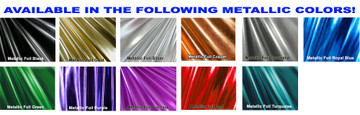 Metallic Foil Coated Four Way Stretch Nylon Spandex.  80% Nylon, 20% Spandex. This is a 4-way stretch fabric that looks like aluminum foil but is stretchy! Black looks like faux leather or rubber. Available in gold, silver, copper, gunmetal, turquoise, Royal blue, red, green, purple, fuchsia, black faux leather/rubber Metallic Foil.   Metallic will rub off if rubbed excessively. Foil will separate from spandex backing if worn too tight. Hand wash inside out in cold water, line dry. Iron inside out on low heat. Do not scrub. Do not bleach.