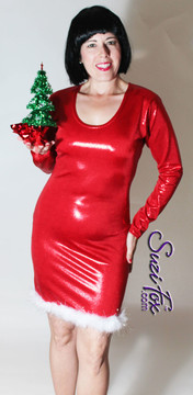 Custom Scoop Neck Christmas Dress shown in red metallic mystique with white boa feathers with silver tinsel by Suzi Fox. Also available in metallic foil red, or any fabric on this site! Metallic Mystique is a 4-way stretch fabric with tiny small glittering metallic foil dots embedded in the fabric. • Custom sizing available. • Plus size available. • Worldwide shipping. • Made in the U.S.A.