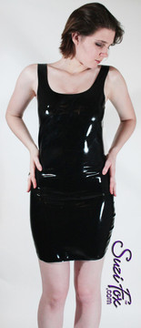 Latex rubber Tank Mini Dress in Black Latex, custom made by Suzi Fox.