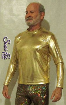 Mens long sleeve Tee Shirt shown in Gold Metallic Foil Spandex, custom made by Suzi Fox. • Available in gold, silver, copper, gunmetal, turquoise, Royal blue, red, green, purple, fuchsia, black faux leather/rubber Metallic Foil, and any fabric on this site. • Choose your sleeve length. • Give us your measurements for a custom fit! • Standard length is 24 inches (61 cm) for sizes XXXS-Medium; 27 inches (68.6 cm) for sizes Large and up. • Optional add extra length to the shirt. • Made in the U.S.A. Many thanks to Robert Strong, professional piano player, for these awesome pictures!