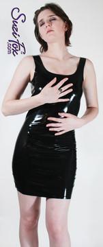Black Latex rubber Tank Mini Dress, custom made by Suzi Fox.