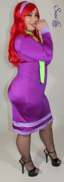 Daphne from the cartoon Scooby Doo style costume, custom made by Suzi Fox. Shown in purple and lilac milliskin. Neon green scarf and lilac headband included. • Custom sizing available. • Plus size available. • Optional wrist zippers available. • Worldwide shipping. • Made in the U.S.A.
