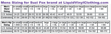 Mens Standard sizing chart for pants, shorts and swimwear