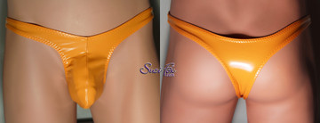 Mens Contoured Pouch Front, Wide Strap, T-Back thong - shown in Tangerine Vinyl/PVC coated spandex, custom made by Suzi Fox. • Available in any fabric on this site. • Standard front height is 7 inches (17.8 cm). • Available in 3, 4, 5, 6, 7, 8, 9, and 10 inch front heights. • Wear it as swimwear OR underwear! • Made in the U.S.A.