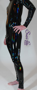 Pouch Front pants, shown in stretch Holographic Vinyl/PVC coated spandex, custom made by Suzi Fox. • 1 inch elastic at the waist. • Choose any fabric on this site, including vinyl/PVC, metallic foil, metallic mystique, wetlook lycra Spandex, Milliskin Tricot Spandex. • Free custom sizing! • Choose your pouch size! • Optional rear patch pockets. • Optional belt loops. • Optional ankle zippers. • Worldwide shipping. • Crafted in the U.S.A. We custom make every garment when you order it (including standard sizes).