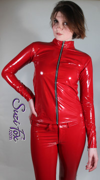 Womens Crop Jacket in Red Gloss Vinyl/PVC Spandex, custom made by Suzi Fox. Custom made to your measurements! • Choose any fabric on this site. • Available in black, white, red, navy blue, royal blue, turquoise, purple, fuchsia, neon pink, light pink, matte black (no shine), matte white (no shine) stretch vinyl/PVC coated nylon spandex. • Your choice of zippers. • Optional wrist zippers. Made in the U.S.A.