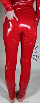 Custom Jean style Leggings shown in Red Gloss Vinyl/PVC coated Nylon Spandex, by Suzi Fox. • Waistband with button. • Fly front with zipper. • Choose any fabric on this site, including vinyl/PVC, metallic foil, metallic mystique, wetlook lycra Spandex, Milliskin Tricot Spandex. The vinyl/PVC is a latex alternative, great for people allergic to latex! • Optional custom sizing. • Plus size available. • Optional rear patch pockets. • Optional belt loops. • Optional ankle zippers. • Worldwide shipping. • Made in the U.S.A.