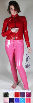 Custom Jean style Leggings shown in Hot Pink Gloss Vinyl/PVC coated Nylon Spandex, by Suzi Fox. • Waistband with button. • Fly front with zipper. • Choose any fabric on this site, including vinyl/PVC, metallic foil, metallic mystique, wetlook lycra Spandex, Milliskin Tricot Spandex. The vinyl/PVC is a latex alternative, great for people allergic to latex! • Optional custom sizing. • Plus size available. • Optional rear patch pockets. • Optional belt loops. • Optional ankle zippers. • Worldwide shipping. • Made in the U.S.A.